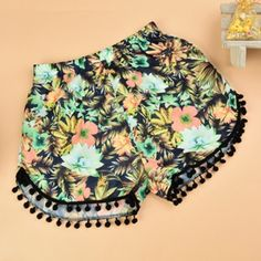 CO Women Summer Fashion Casual Elastic Waist Floral Print Fringe Beach Hot Shorts   cndirect.com