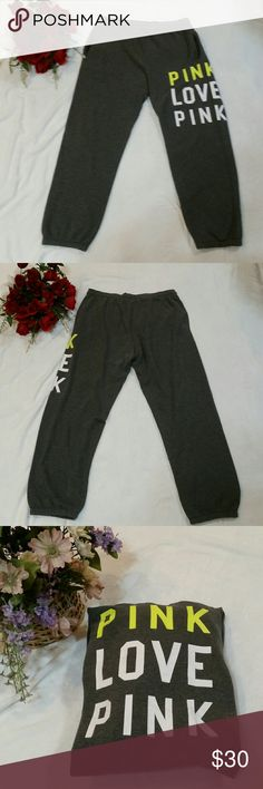 "PINK Victoria's Secret Pink Love Pink Sweatpants PINK Victoria's Secret sweatpants. Dark gray color with ""PINK LOVE PINK"" down the left leg. Very slight cracking in some of the letters as seen in pics 4 & 8 (reflected in price), other than that they are in good condition. Size large. PINK Victoria's Secret Pants Track Pants & Joggers"