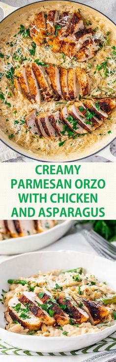 Creamy Parmesan Orzo with Chicken and Asparagus Sahniger Parmesankäse-Orzo mit Huhn und Spargel Turkey Recipes, New Recipes, Chicken Recipes, Dinner Recipes, Cooking Recipes, Healthy Recipes, Recipies, Simple Recipes, Parmesan Orzo