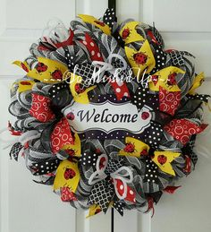 Ladybug wreath Deco Mesh wreath with ladybugs Gift by SoMeshedUp