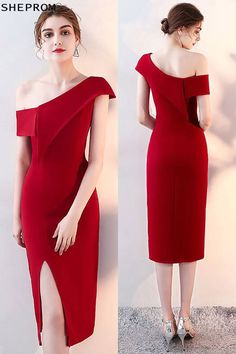 Shop Sheath One Shoulder Burgundy Red Party Dress with Side Slit online. SheProm offers formal, party, casual & more style dresses to fit your special occasions. Trendy Dresses, Tight Dresses, Simple Dresses, Sexy Dresses, Nice Dresses, Short Dresses, Fashion Dresses, Formal Dresses, Party Dresses