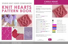 Knit Hearts Pattern Book by Studio Knit with Lace Heart Pattern. Knitted Heart Pattern, Dishcloth Knitting Patterns, Knit Dishcloth, Knitting Stitches, Knitting Needles, Knitting Books, Lace Knitting, Knit Lace, Knitting Projects