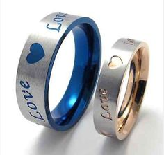 Titanium Steel Promise Love Blue and Gold Love and Heart Love Couple Rings Gift