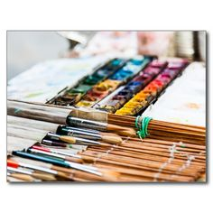 Painting Brushes Post Card - $0.93
