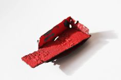 Han-Chieh Chuang Red Brick Brooch. 2014 enamel, copper, paper, silver, steel wire