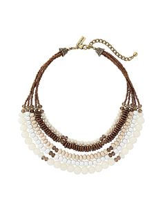 Multi-Strand Wood Necklace- A chic mix of natural and glossy materials has a tribal-inspired look. Pair it with a strapless dress to finish off your outfit.