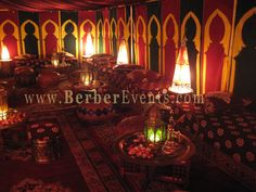 We were imagining the hookah lounge after party kinda like this - carpets, candles, low cushions and pillows...