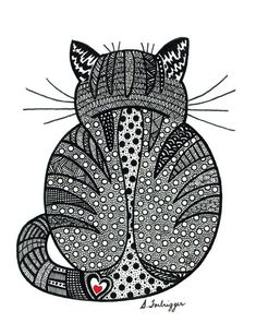 Black and White Zentangle Cat drawing Print. $15.00, via Etsy.:
