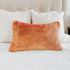 One-of-a-kind boujad pillow. Boujad pillows are made from vintage boujad rugs, which are hand woven, pile rugs from the Haouz region of Morocco.