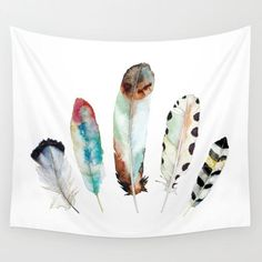 5 Feathers No. 9 Wall Tapestry by Snoogs & Wilde