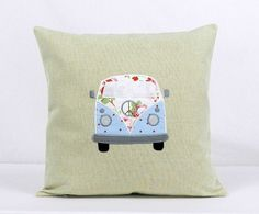 This is for one Blue Camper Van Cushion. This cushion comes with an 18 inch hollwfibre cushion pad included. This Camper Van is Applique onto Natural beige Linen fabric. The linen fabric is linen and cotton. Blue Fabric, Linen Fabric, Cotton Fabric, Bee Design, Design Shop, Laura Ashley Fabric, Hand Applique, Cath Kidston, Black Felt