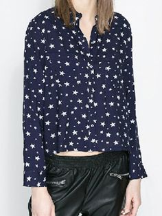 Chic Women's Stars Printed Long Sleeve Blouse on buytrends.com
