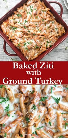 Easy Baked Ziti is the perfect quick and easy weeknight dinner. Made with savory ground turkey in a pool of zesty marinaria sauce and of course cheese!