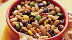 Package this colorful mix in a holiday tin for gift-giving. Snack Mix Recipes, Cereal Recipes, Yummy Snacks, Dog Food Recipes, Snack Mixes, Good Food, Healthy Eating, Appetizers, Nutrition