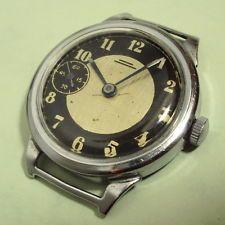 Rare vintage MOLNIJA ChK-6 USSR Stalin Era large STEEL wristwatch 1953