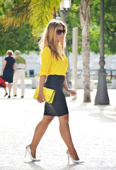 outfit yellow shirt ~ outfit yellow shirt ` outfit yellow shirt blouses ` outfit yellow shirt and jeans Fall Fashion Outfits, Casual Fall Outfits, Mode Outfits, Work Fashion, Skirt Outfits, Classy Outfits, Sexy Outfits, Chic Outfits, Future Fashion