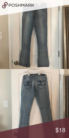 💙Seven 7  Slim Boot Jeans 💙 Size 28 Gentle used distressed stretchy jeans Seven7 Jeans Boot Cut