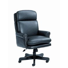 Pin it :-) Follow us :-)) AzOfficechairs.com is your Office  chair Gallery ;) CLICK IMAGE TWICE for Pricing and Info :) SEE A LARGER SELECTION of  traditional office chair at http://azofficechairs.com/category/office-chair-categories/traditional-office-chair/ -  office, office chair, home office chair -  Traditional High-Back Leather Executive Chair Leather Color: Black « AZofficechairs.com