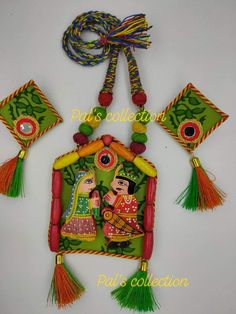 made with wooden beads, teasels and wooden princess and prince. Diy Embroidered Sneakers, Fabric Jewelry, Jewelry Art, Handmade Jewellery, Handcrafted Jewelry, Garba Dress, Terracotta Jewellery, Choli Designs, Dj Booth