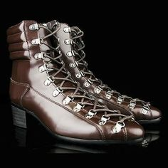 Mens Brown Cowhide Leather Cyber Goth Gothic Fashion Emo Short Boots SKU-1280034