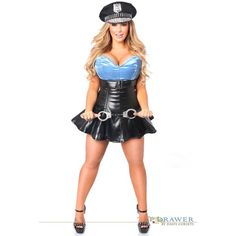 Top Drawer Plus Size Premium Cop Corset Costume (€170) ❤ liked on Polyvore featuring costumes, sexy plus size costume, sexy women costumes, plus size pirate costume, adult women costumes and dog costumes