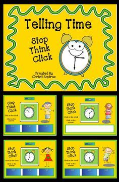 FREE Telling Time Stop, Think, Click This is a fun game for students to review their understanding of telling time to the hour and half hour.