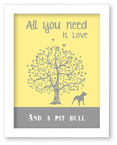 Pit Bull Art Print Pit bull Silhouette All You by DIGIArtPrints, $10.00