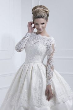 Tea-length White  Weding Dress  Lace Long sleeve Bride Gown Custom dress