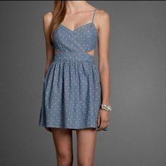 Polka dot cut-out dress Really cute denim dress! Worn twice. Abercrombie kids size XL fits Abercrombie size XS-S. Abercrombie & Fitch Dresses Mini