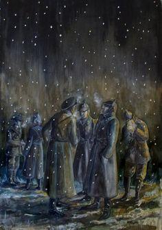 Christmas Truce Christmas Truce, Soldier Drawing, Ww1 Art, Ww1 Photos, Merry Christmas Everybody, Football Art, World War One, Military Art, Wwi