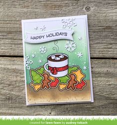 How You Bean? Christmas Cookie Add-On Archives - Lawn Fawn Winter Cards, Holiday Cards, Christmas Cards, Christmas Things, Lawn Fawn Blog, Thanks A Latte, Lawn Fawn Stamps, Interactive Cards, Scrapbook Cards