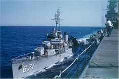 USS Gatling (DD-671) Fletcher class destroyer. (google.image) Rare Color (Small) Fletcher Class Destroyer, Us Navy Destroyers, Blue Devil, United States Navy, Greyhounds, Submarines, Battleship, Boating, World War Ii