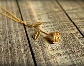 Long Stemmed Rose Necklace in Matte Gold