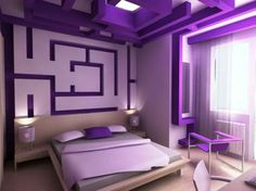 Ein Wandmuster Im Zickzack Design Für Ein Schlafzimmer   Muster ... Schlafzimmer Farben Muster