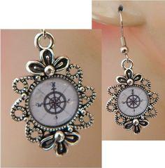 Rose Compass Charm Drop/Dangle Earrings Handmade Silver Accessories Nautical NEW #Handmade #DropDangle