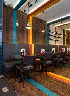 Restaurant & Bar Design Awards Strips on ceiling wall n floor Coffee Shop Design, Cafe Design, Küchen Design, Design Ideas, Bar Designs, Brand Design, Bar Design Awards, R Cafe, Cafe Bar