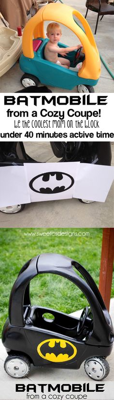 Batmobile Cozy Coupe Refashion - Be the coolest mom on the block in under 40 minutes time! I Am Batman, Batman Car, Baby Batman, Batman Stuff, Superman, Just In Case, Just For You, Baby Kids, Baby Boy