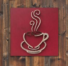 String art coffee with acrylic painting, coffee cup wall hanging, strings and nails art, christmas gift Coffee Art, Coffee Cups, String Art Diy, Cuadros Diy, Art Christmas Gifts, String Art Patterns, Thread Art, Pin Art, Nail Art Diy