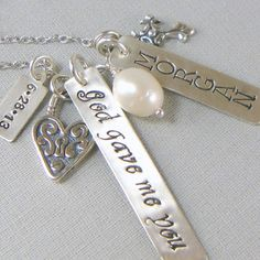 God gave me you Mom Mommy Necklace New Mom by YouCanQuoteMeOnThat, $68.00