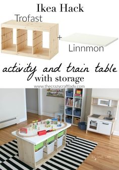 An Ikea Hack custom train and activity table with TONS of storage. This is such an an EASY DIY project and a great way to get all of those toys up off the floor and organized once and for all! An Ikea Hack Train & Activity Table - The Crazy Craft Ikea Storage Cubes, Storage Hacks, Diy Storage, Storage Ideas, Table Storage, Storage Organization, Cheap Storage, Storage Solutions, Train Table With Storage