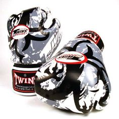 TWINS SPECIAL WHITE TRIBAL DRAGON BOXING GLOVES PREMIUM LEATHER W/ VELCRO (16 oz.)