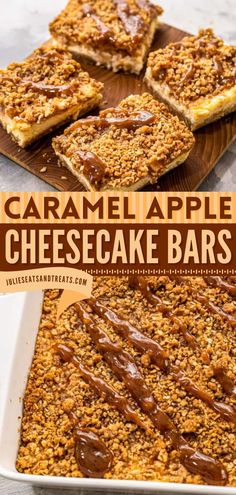 These Caramel Apple Cheesecake Bars start with a shortbread crust topped with a layer of cheesecake, cinnamon diced apples, and streusel topping. Add this holiday baking recipe to your list of Thanksgiving desserts! Desserts For A Crowd, Food For A Crowd, Dessert Recipes, Caramel Apple Cheesecake Bars, Thanksgiving Desserts Easy, Shortbread Crust, Streusel Topping, Holiday Baking, Caramel Apples