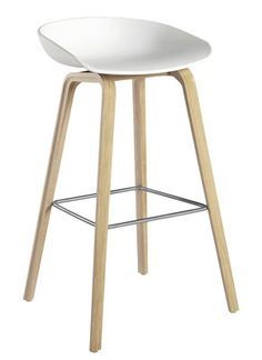 About a stool Bar stool - H 75 cm - Plastic & wood legs White & Natural wood base by Hay