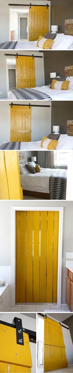 Sliding barn doors instead of pocket doors and regular doors!! Not yellow but maybe red!!!