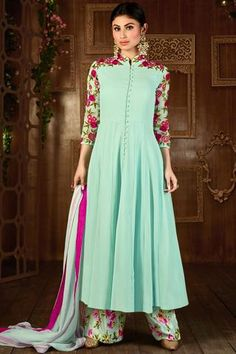Turquoise Colored Admiring Designer Embroidered Straight Cut Suit