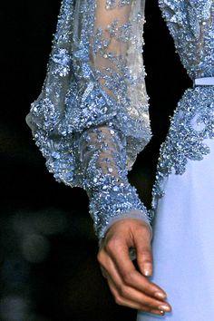 Blue chiffon & lace