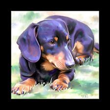 DACHSHUND dog pet print picture CANVAS Fine Art GICLEE PAINTING