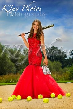 Girls softball player senior pictures. She's also looks like a princess in her prom dress. So we combined the two to show her many personality traits. Strong and fierce on the field but also beautiful. Senior picture poses for softball player in prom dress by K Jay Photos Photography, Madison WI Photographer. www.kjayportraits.com