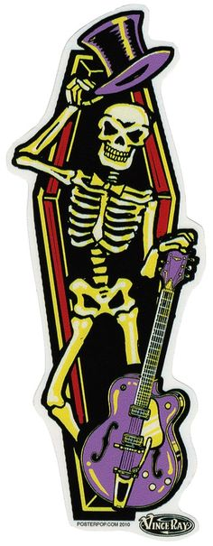 VINCE RAY COFFIN STICKER Got a car, bike or desk that needs some new stickers?! Plaster on the Vince Ray Coffin sticker featuring a grinnin' top hat wearin' skeleton. $4.00