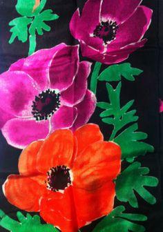 VERA NEWMANN Scarf Poppy Poppies Flower Print 10 x 52